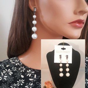Ellen Tracy Long Faux Pearl Drop Earrings Pierced